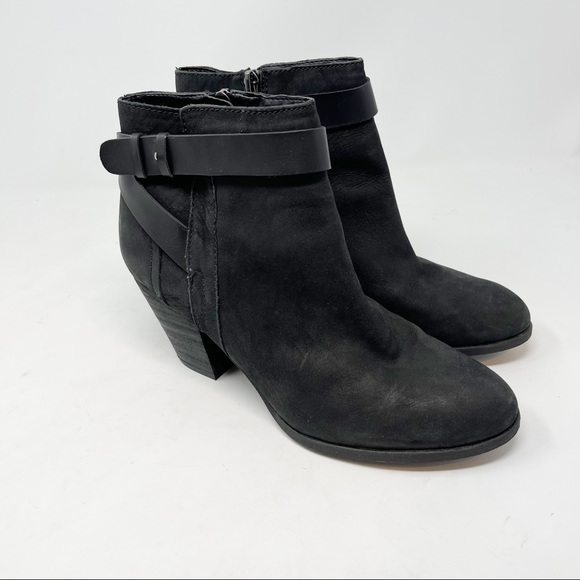 FRANCO SARTO Dotty Black Leather Ankle Booties